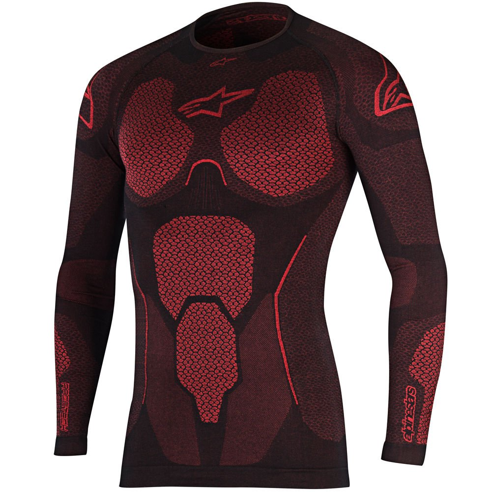 Alpinestars Motobike Motocycle Ride Tech Top Long Sleeve Summer Black Red M/L