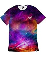Into The AM Electric Nights Collection Men's All Over Galaxy Print Casual Tee Shirts