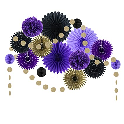 Black Purple Party Decorations Paper Fans Tissue Pom Poms Birthday Wedding  Aniversary Valentine Decoration Easy Joy (Black Purple)