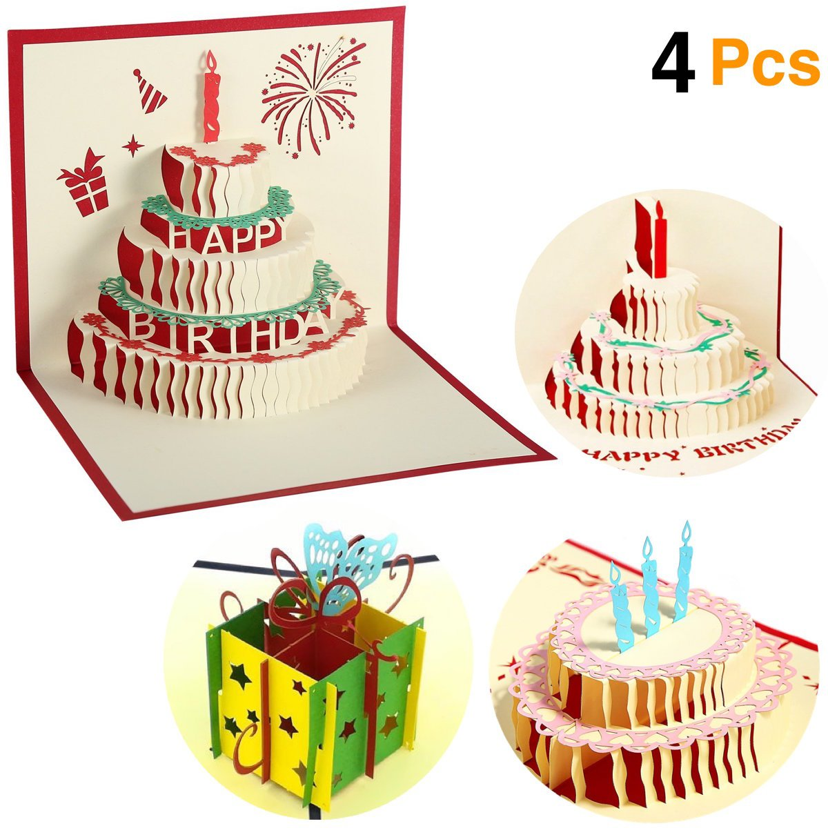 Amazon ohill 4 pcs 3d pop up birthday cards laser cut happy amazon ohill 4 pcs 3d pop up birthday cards laser cut happy birthday greeting cards with bookmark office products kristyandbryce Image collections
