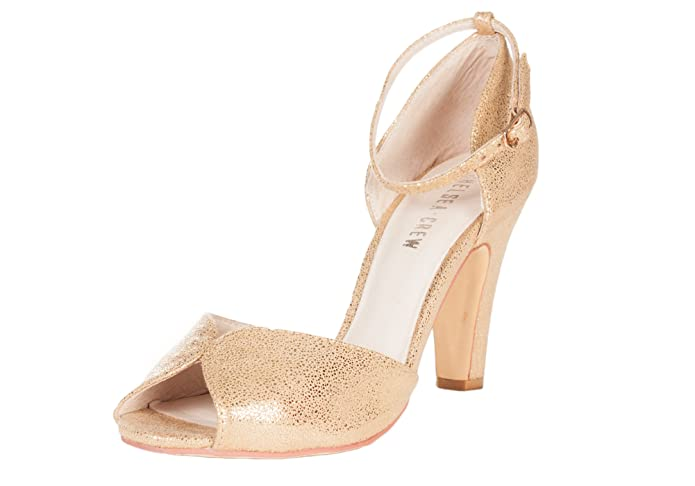 Chelsea Crew LOLA Vintage Glam Gold Metallic Classic Peep Toe Pump  AT vintagedancer.com