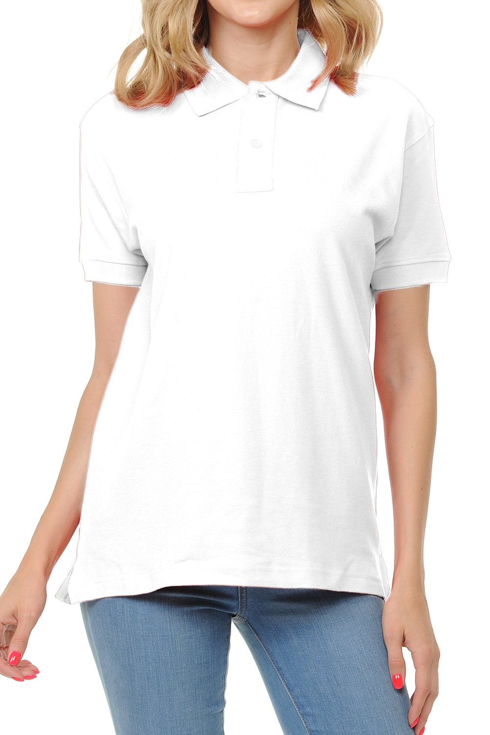 FRESH TEE Women's Adult Unisex 100% Cotton Classic Fit Polo Shirt Short Sleeve for Daily Work School Uniform (Large, White)