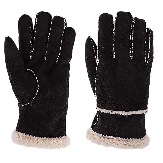 Amazon.com: Guantes de piel sintética cálidos para invierno ...