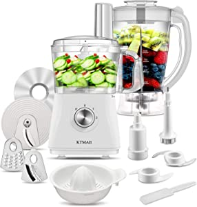 KTMAII CY-312 Kitchen System and Blender, with Food Processor Bowl, Blendering Jar, Blade/Slicing and Grating Disc, 500-Watt Base, White