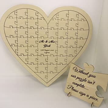 Personalised birch plywood 40 piece heart shaped wedding guest book ...