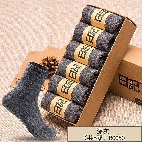 Wazi del negocio del algodón calcetines de los hombres medias de cuatro estaciones calcetines negros desodorante transpirable tubo corto calcetines calcetines de los hombres casuales retro 6 pares de: Amazon.es: Deportes y