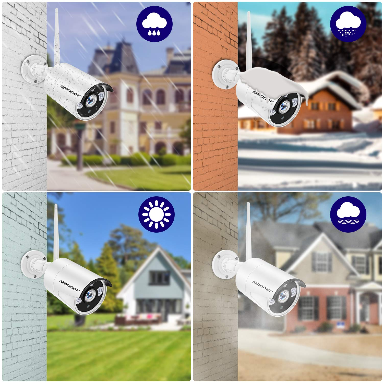 960P Cam/éras avec 1 to Disque Dur et Ecran 10.1 Kit Vid/éo Surveillance Syst/ème de Cam/éra sans Fil,SMONET 8 CH Extensible 1080P NVR et 4 Vision Nocturne APP Gratuite