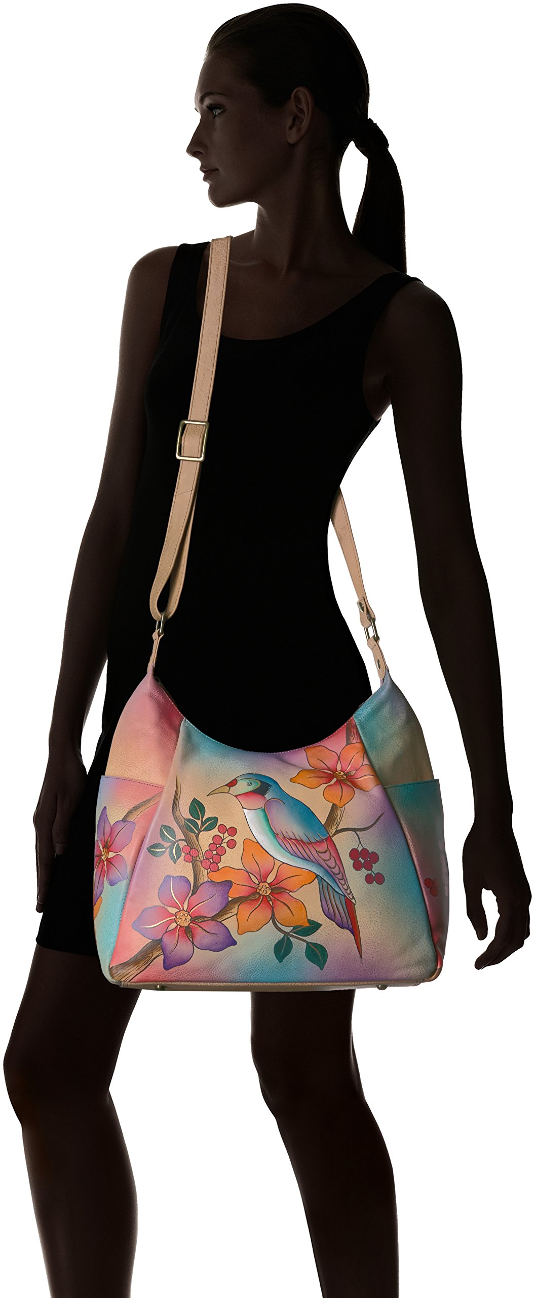 Anuschka Anna Handpainted Leather Large Multi Pocket Hobo, Bird on a Branch by ANUSCHKA (Image #6)