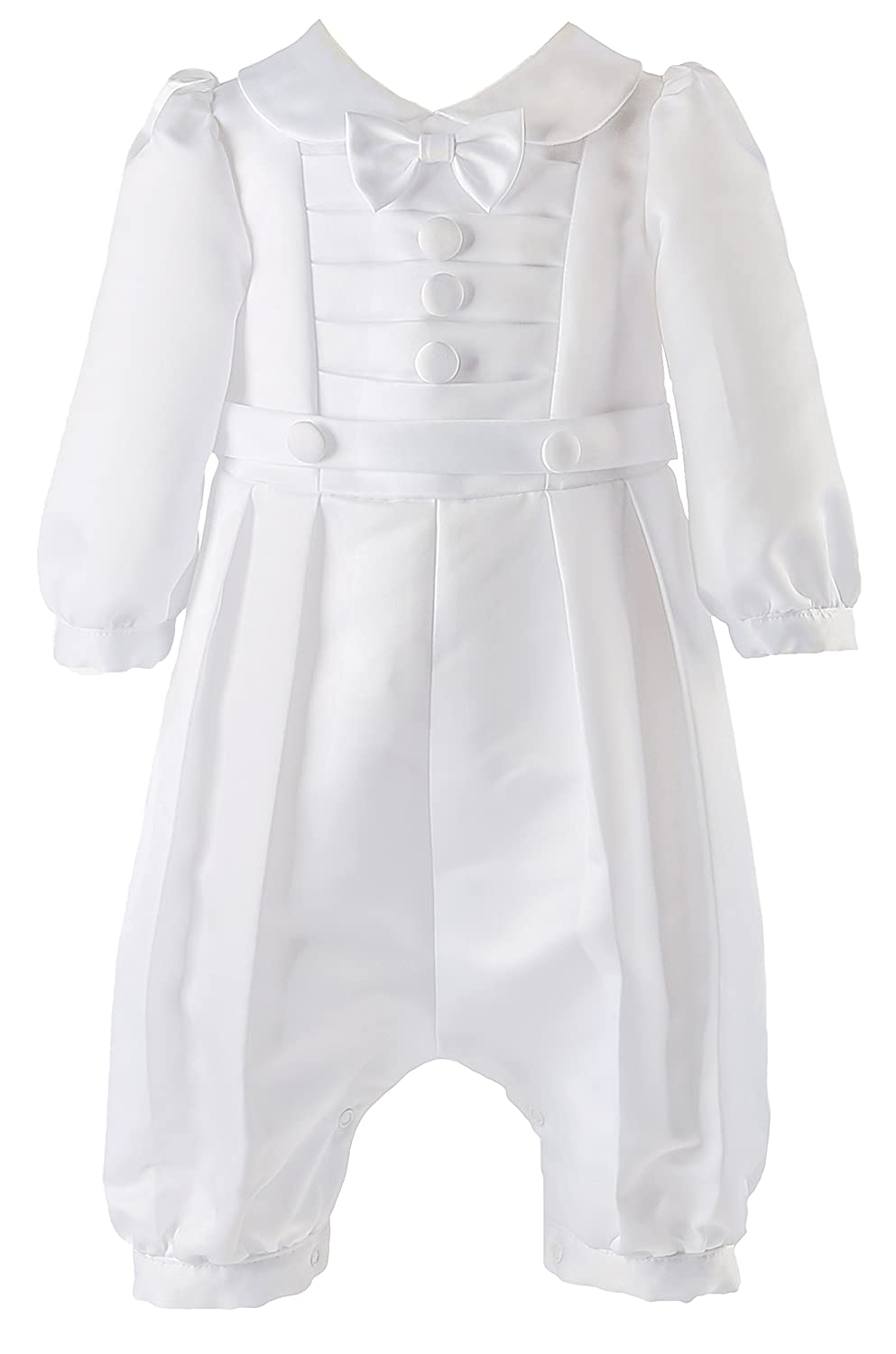 NIMBLE Baby Boys Newborn Christening Baptism White Coverall Outfit Romper, 0-12M
