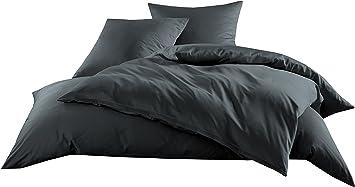 Mako Satin Baumwollsatin Bettwäsche Uni Einfarbig Zum Kombinieren Kissenbezug 80 Cm X 80 Cm Anthrazit