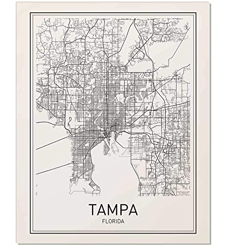 Florida Map By City.Amazon Com Tampa Poster Map Of Tampa Tampa Map City Map Poster
