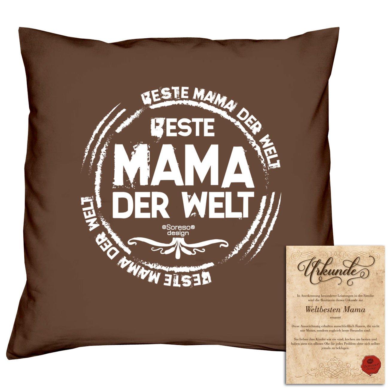 Geschenk-Set : Beste Mama der Welt - Kissen inkl. Füllung und ...