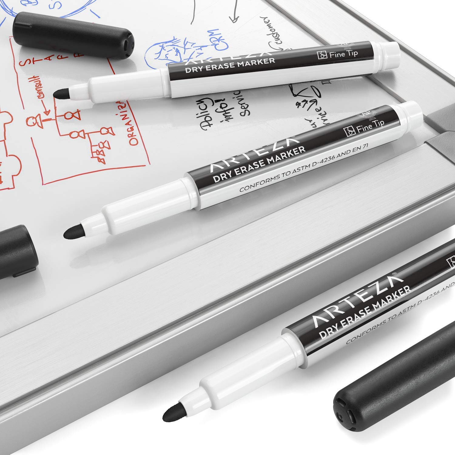 ARTEZA Dry Erase Markers, Bulk Pack of 52 (with Fine Tip), Black Color with Low-Odor Ink, Whiteboard Pens is perfect for School, Office, or Home by ARTEZA (Image #3)