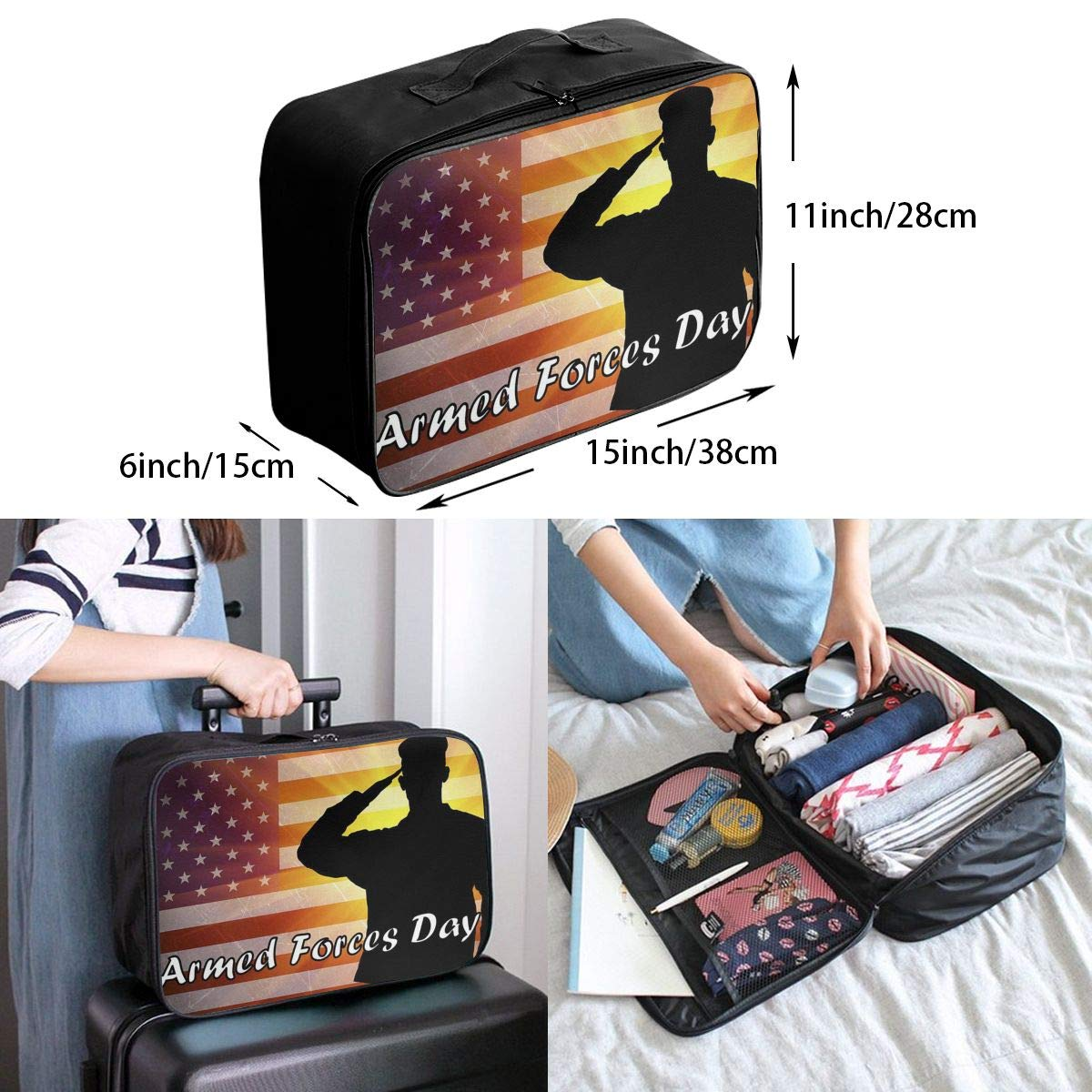 Travel Luggage Duffle Bag Lightweight Portable Handbag Armed Forces Day Large Capacity Waterproof Foldable Storage Tote