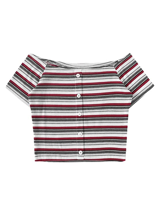 Sweaty Rocks Women's Striped Off The Shoulder Short Sleeve Button Front Crop Top T Shirt by Sweaty Rocks