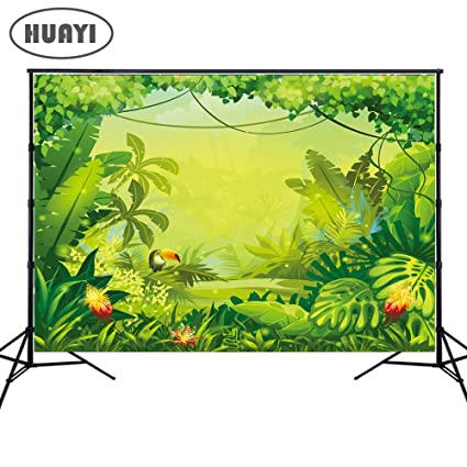 194cc1c29e770 HUAYI 7x5ft Jungle safari backdrop kids Photography Backdrops happy birthday  dessert table background Banner birthday floral