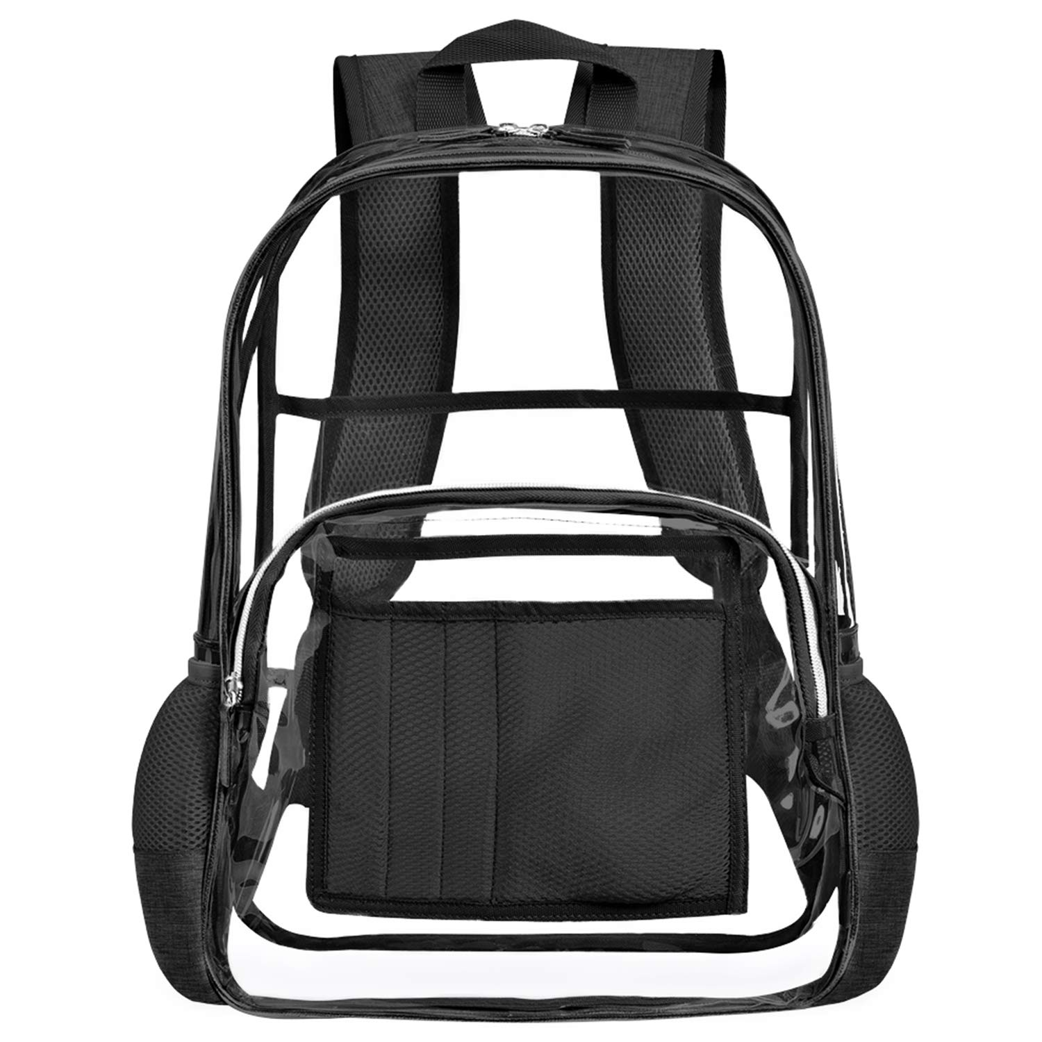 Clear Backpack for Women and Men Fit 15.6 inch Laptop See Through College School Bag for Student Cute Bookbag for Kids Girls Boys Transparent PVC Knapsack Daypack for Travel Work Gym Hiking,Black