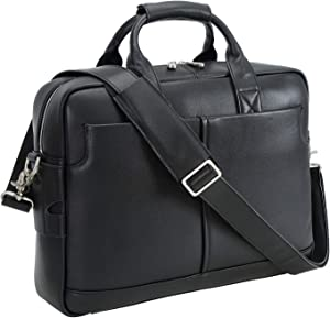 Texbo Genuine Full Grain Leather Men's 16 Inch Laptop Briefcase Messenger Bag Tote with YKK Metal Zippers(Black)