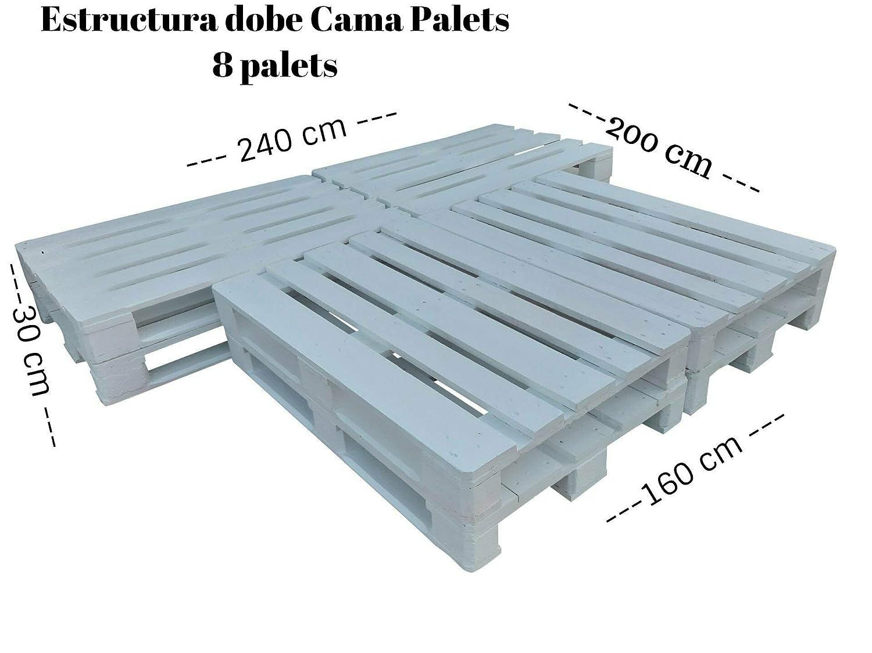 Estructura de Cama de palets - Somier de palets de 90 105 120 ...
