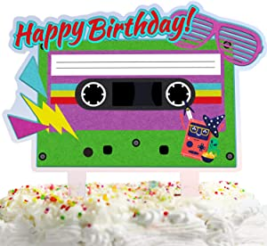 80's Retro Happy Birthday Cake Topper Decorations with Magnetic Tape for Totally 1980s Theme Picks for Hip Hop Sign Party Decor Supplies