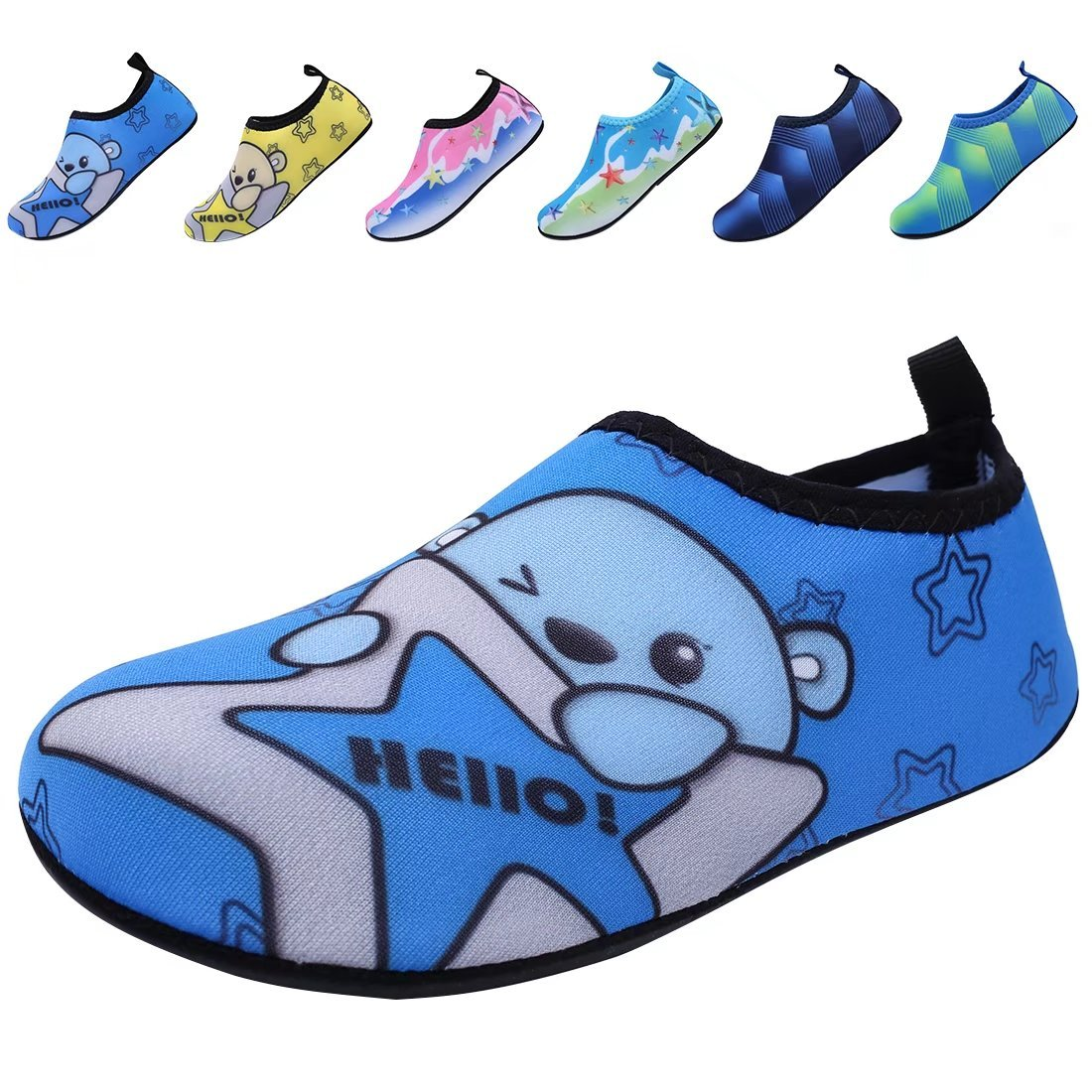 BODATU Boys' Girls' Swim Water Shoes Kids Quick Dry Barefoot Aqua Sock Shoes for Beach Pool K50