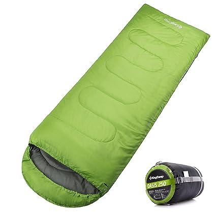 Kingcamp Oasis Camping senderismo invierno 3 temporada saco de dormir verde puede ser conectado