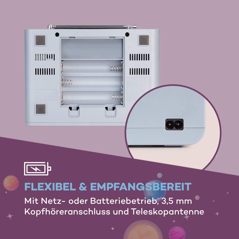 Bluetooth Strom//Batteriebetrieb CD-Player grau auna Kidsbox Space CD Boombox UKW-Radiotuner LED-Display 3,5 mm Klinkenanschluss f/ür Kopfh/örer Handmikrofon USB-Port