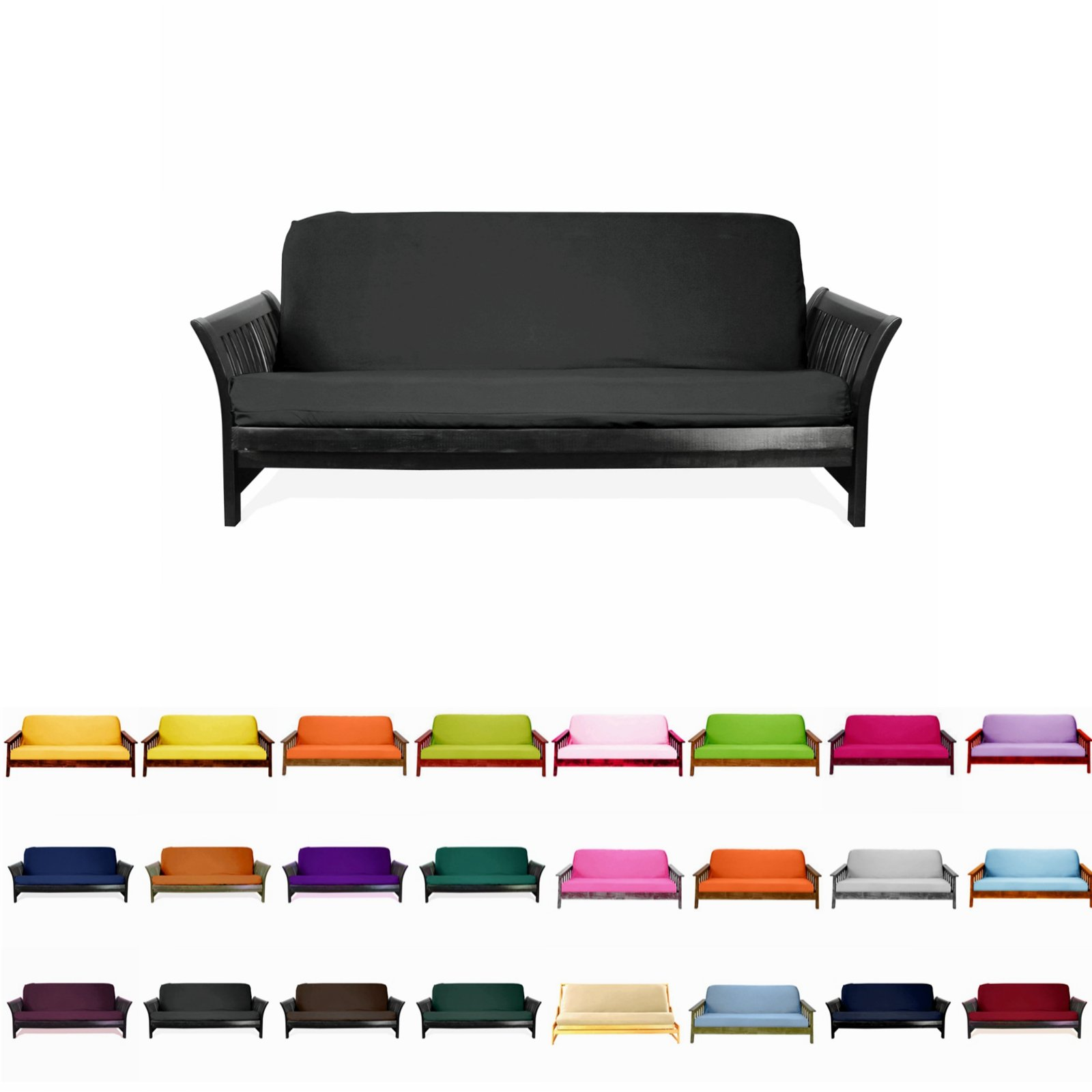 Magshion F Futon-F-Blk Colorful Cover Slipcover, Full Size, Black by Magshion