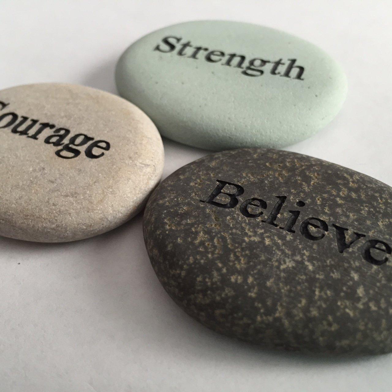 Courage Strength Believe Engraved Stones - 3 Stone Set