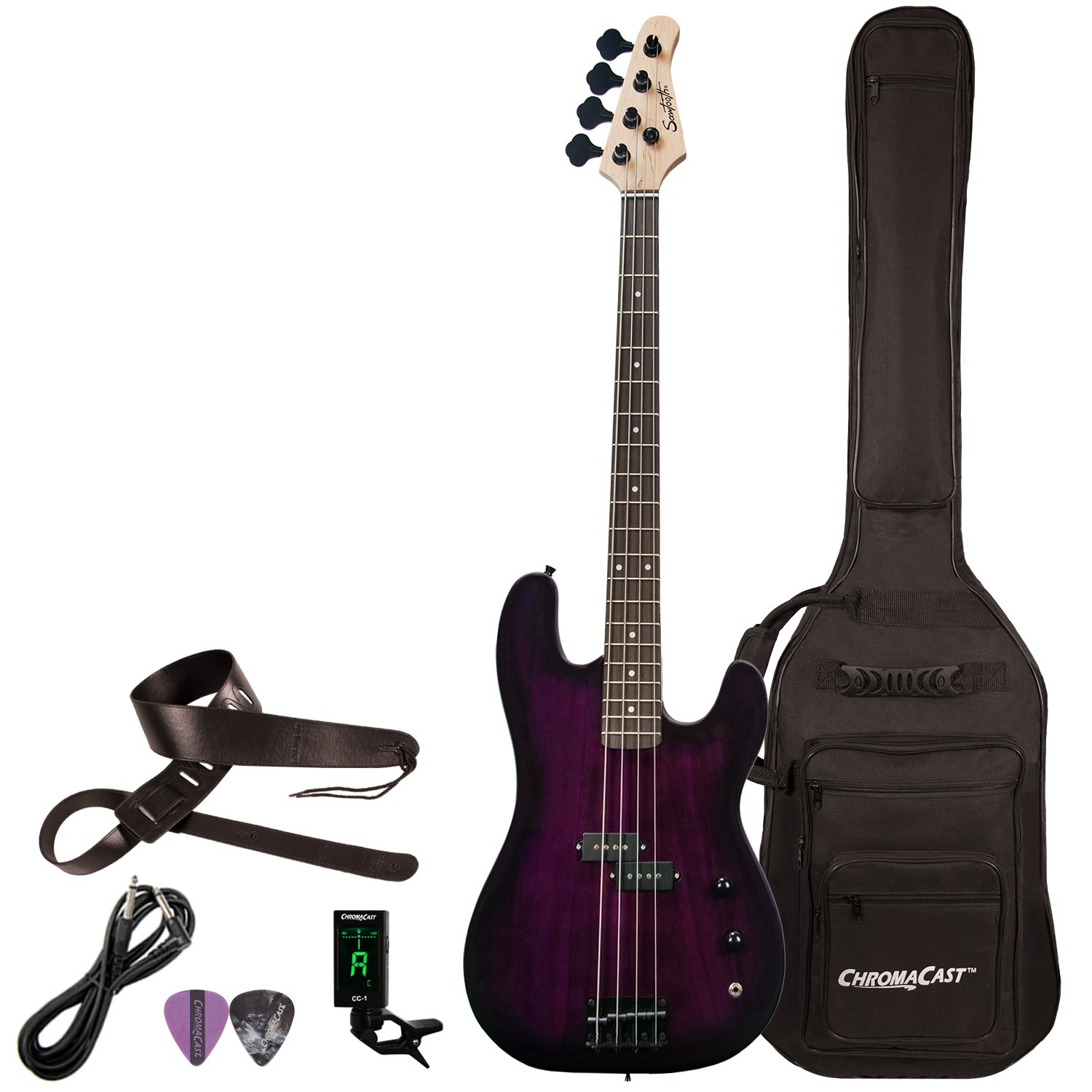 Sawtooth ST-PB-TRP-KIT-1 EP Series Electric Bass Guitar with Gig Bag & Accessories, Trans Purple
