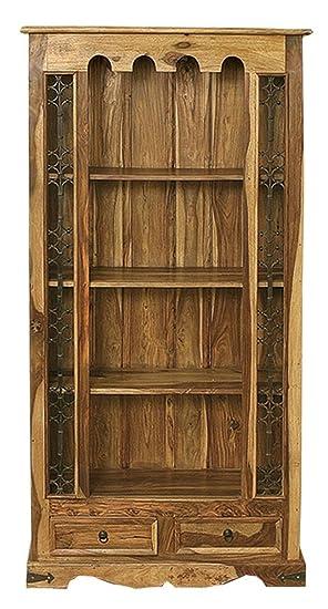 Jali Solid Sheesham Indian Rosewood 2 Drawer Bookcase Living Room Furniture