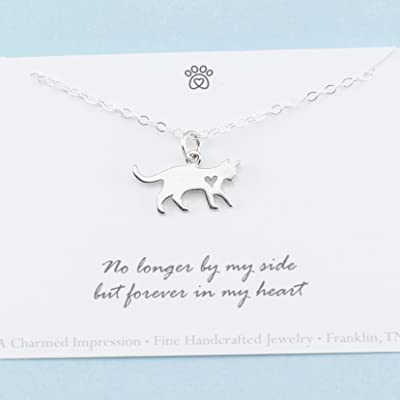Cat Memorial Necklace 925 Sterling Silver Sympathy Gift Remembrance Jewelry