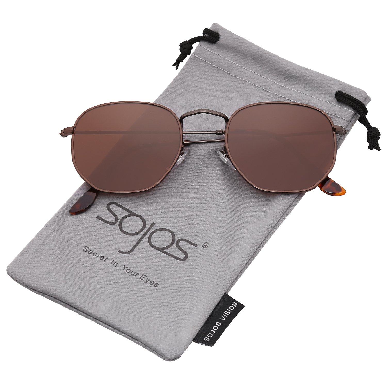 SOJOS Retro Vintage Specchio Polarizzate Lenti Poligono Protezione UV Occhiali da Sole SJ1072 SJ1072C1