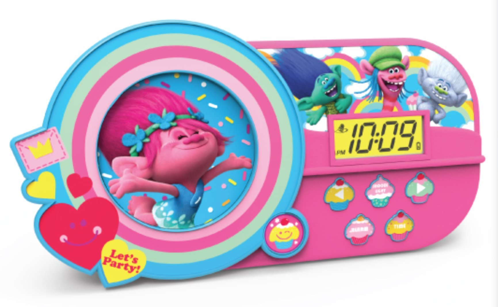KIDdesigns Dreamworks Trolls Alarm Clock with Music and Night Light