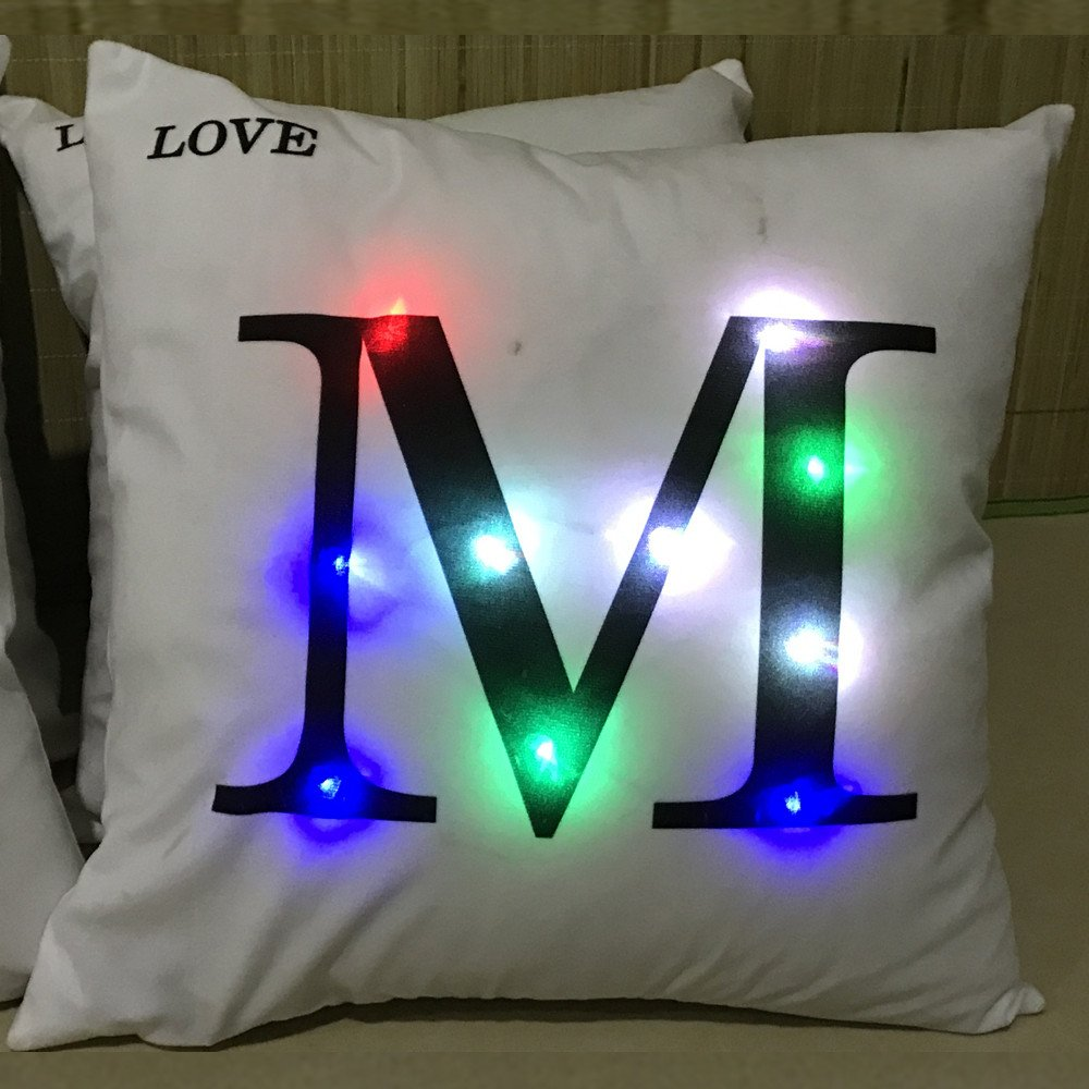 Weiliru Home Pillowcases Decoration Throw Pillow Cover Letters Lash Out Pattern Design Gold Throw Pillow Cover,Symbolize Your Name …