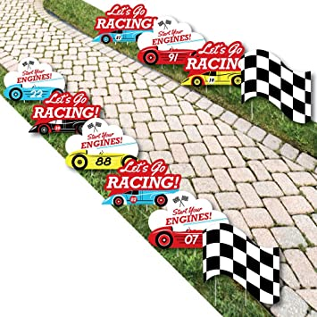 Amazon.com: Let s go Racing – Racecar – césped decoración ...