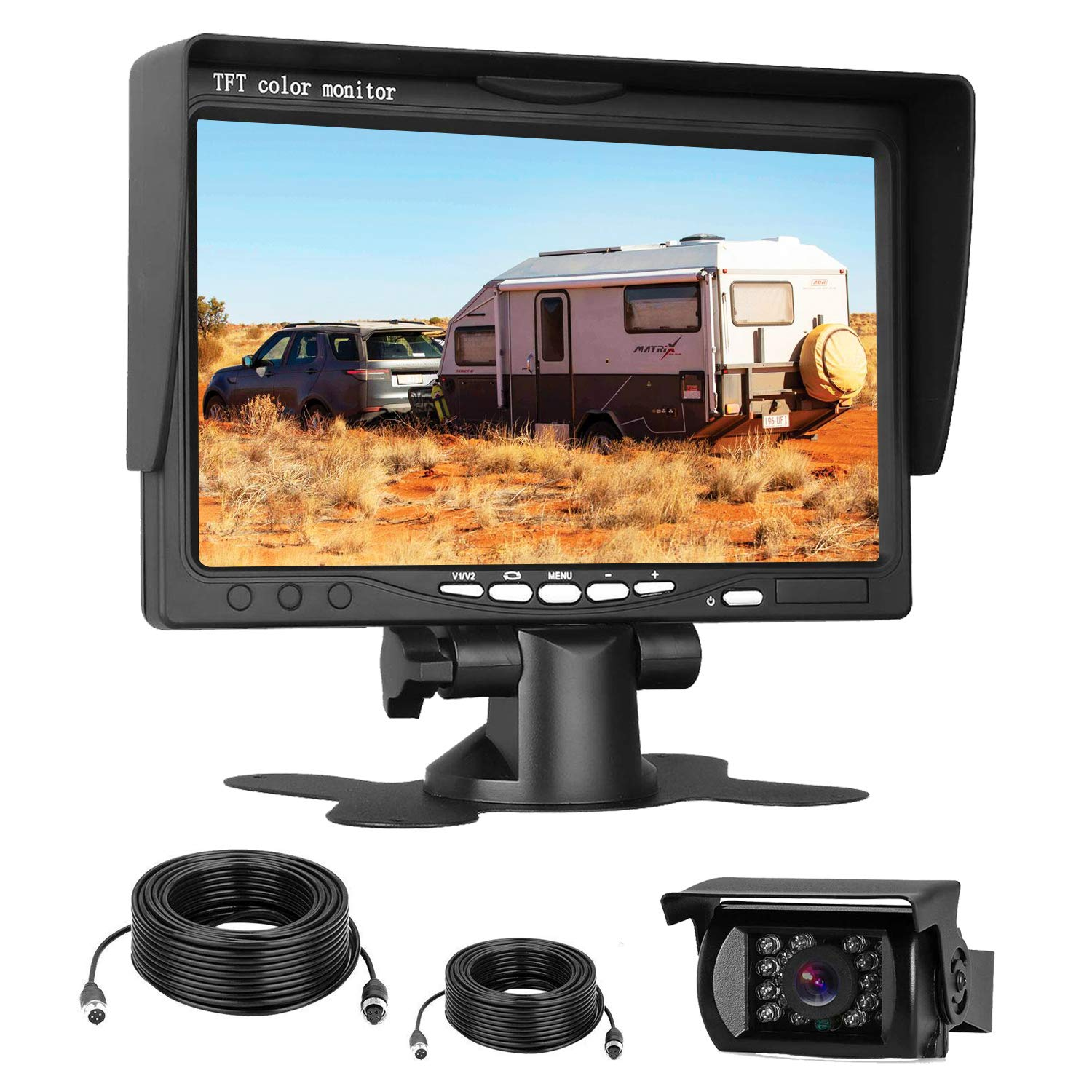 Emmako HD 720P Backup Camera and 7'' Monitor Kit for Trucks,Trailers,RVs,High-Speed Rear Observation System Adjustable Rear/Front View, Guide Lines ON/Off, IP69K Waterproof