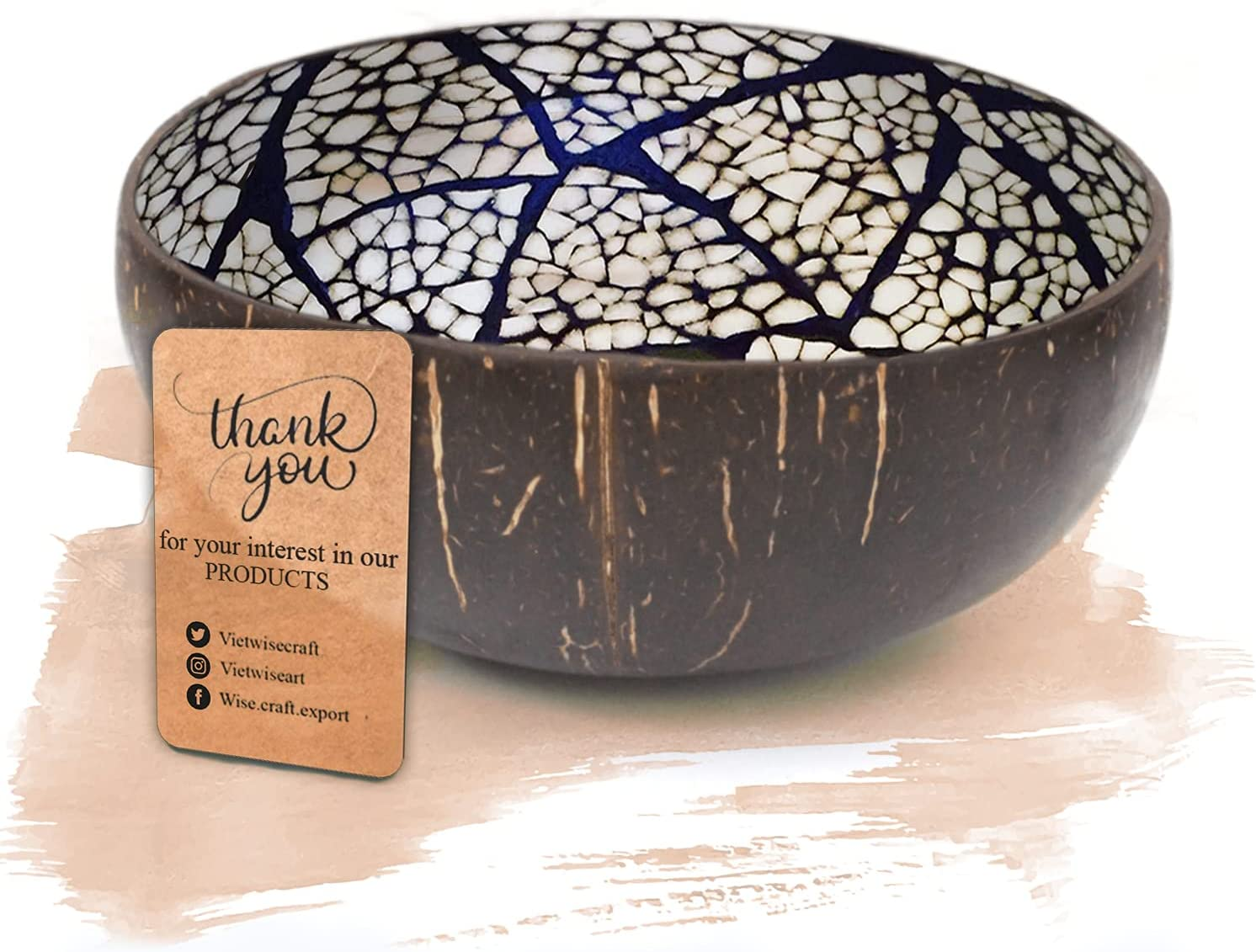 Wise Art Vietnamese Coconut Bowl with Egg Shell Inlaid, Natural and Handmade Multipurpose Coconut Bowl (Black) for Home & Kitchen Décor