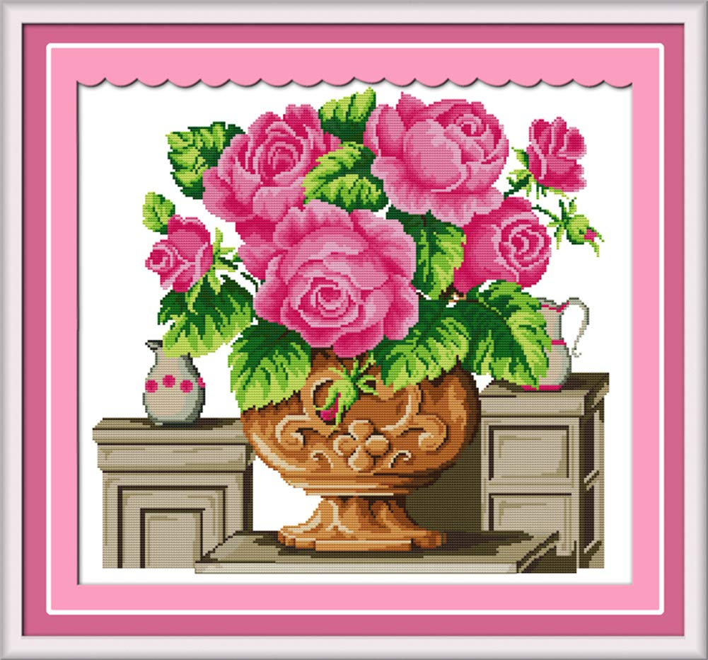 LanMent Rose Heart Yellow Stamped Cross Stitch 14CT Counted Kits Cross-Stitching Pattern Embroidery for Beginner Adults Home Decor Birthday Gift 12.6 x 11 inches
