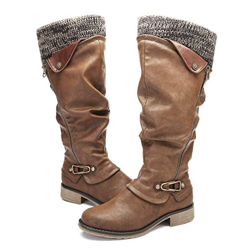 buy popular 41bb3 b675c gracosy Damen Hohe Stiefel, 2019 Winter Schuhe Leder Warme Gefüttert  Gestricktes Futter Schneestiefel Reitstiefel Niedrige mit Absatz Beiläufige  ...