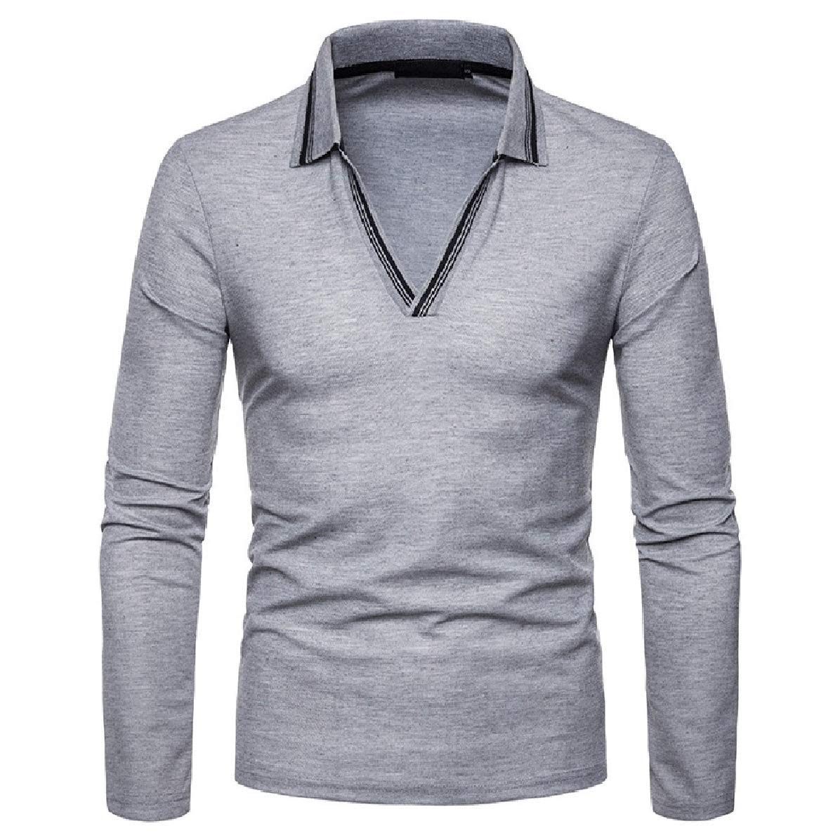 Zimaes-Men Lapel Polo Shirts Plus-Size Pullover Long-Sleeve T-Shirt