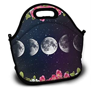 Moon Phase In The Star Sky With Floral Lunch Tote Bag Insulated Handbag Lunchbox Food Container Cooler Picnic Pouch For Women