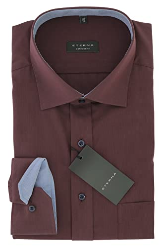 ETERNA Herren Business Hemd Loose Fit mit Kent Kragen Gr.42 Aubergine Bordeaux
