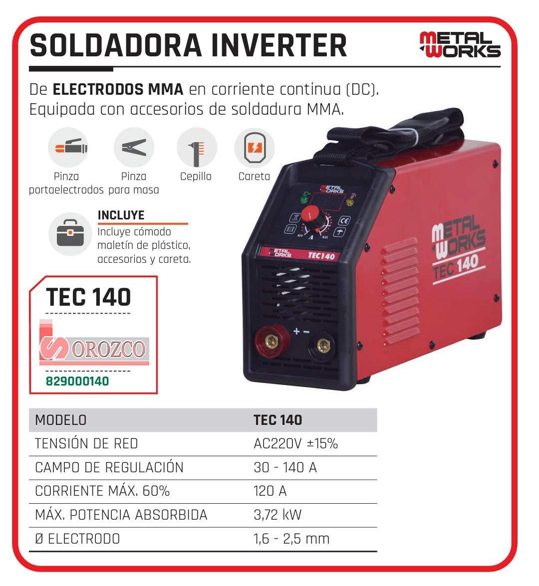 Soldadora de Electrodo MMA Inverter Metalworks TEC 140: Amazon.es: Bricolaje y herramientas