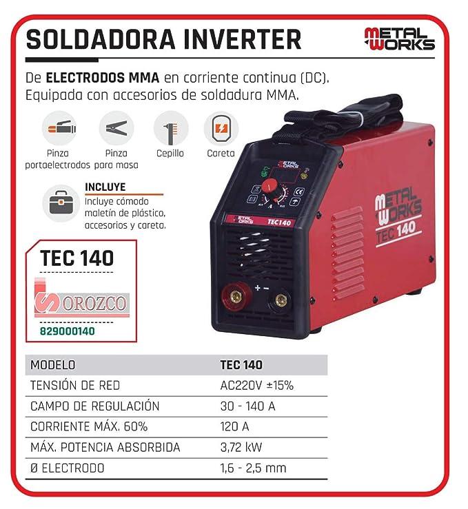 Soldadora de Electrodo MMA Inverter Metalworks TEC 140