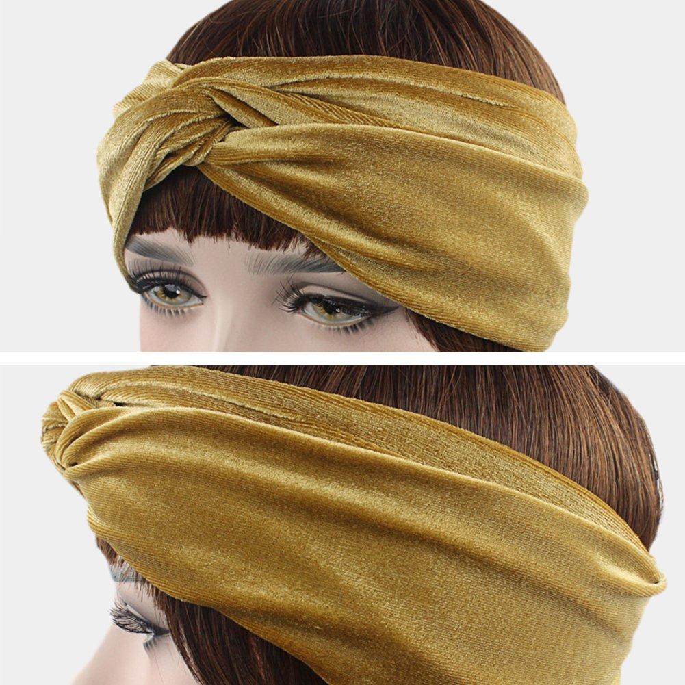blau Retro velvet knoten Haarband Kopfband Stirnband Haarreif Haargummi Samtstirnband Kopftuch turban Yoga Sport Damen