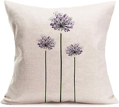 Amazon Com Asminifor Throw Pillow Covers Dandelion Flower Cotton Linen Decorative Throw Pillow Case Cushion Cover 18x18 Inches Pillow Slips Dandelion Home Kitchen