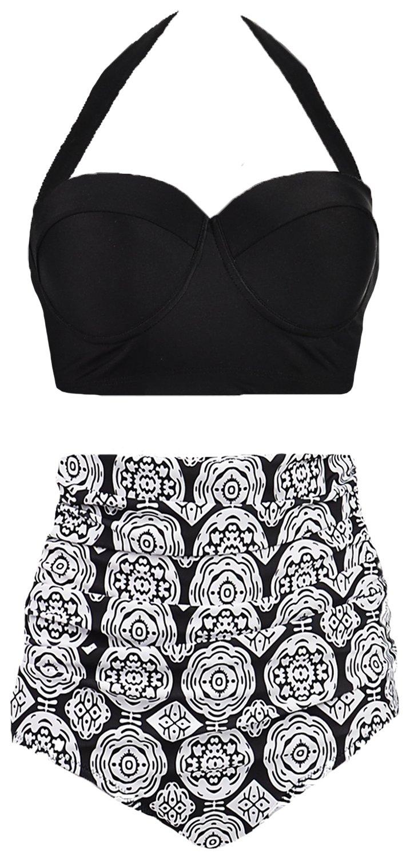 ed4a00db526 Galleon - Amourri Vintage Polka Underwire High Waisted Swimsuit Bathing  Suits Bikini,Midnight Black,US 16-18=Tag Size 5XL