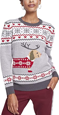 b168c5cfe877 Urban Classics Ladies Sausage Dog Christmas Sweater, Pull Femme,  Multicolore (Grey White