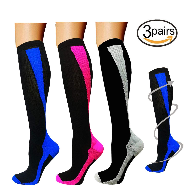 3/5 Pairs Knee High Graduated Compression Socks For Women and Men - 15-20mmHg (Small/Medium, Assort9)